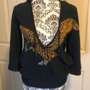 Lucky Brand Eagle Pullover Hoodie Bold XS V Neck